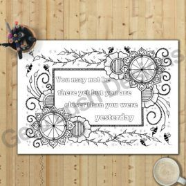 A4 Print At Home Mindfulness Colouring Sheet With Motivational Quote 2a