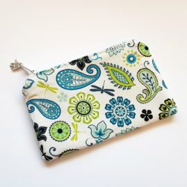 Pretty Paisley Blues Handmade Zipped Purse Coin Purse Earphone Pouch 1a