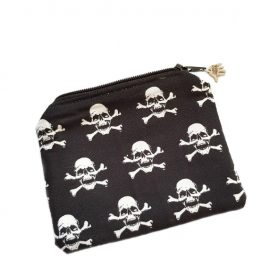 Skull And Cross Bones Handmade Zipped Purse Coin Purse Earphone Pouch 1a
