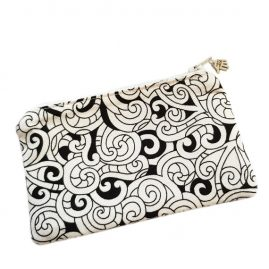 Swirly Monochrome Handmade Zipped Purse Coin Purse Earphone Pouch 1a