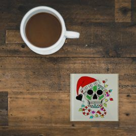Ho Ho Ho Sugar Skull Alternative Christmas Square Glass Coaster Gift 1a