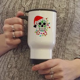 Ho Ho Ho Sugar Skull Alternative Christmas Thermal Lidded Travel Mug 1a