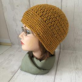 mustard beanie side glasses