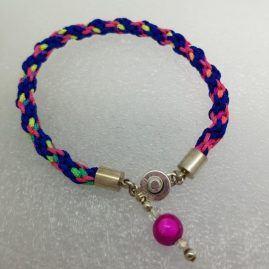 Blue pink yell woven bracelet