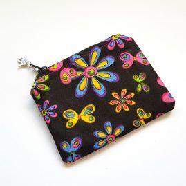 Colourful Flowers Handmade Zipped Pouch Coin Purse Earphone Pouch 1a