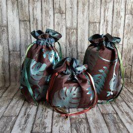 Green Leaf Eco-Friendly Reusable Drawstring Gift Bag Or Storage Bag 1a