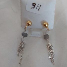 Labradorite studs with silver chain 2