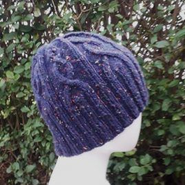 cable rib hat close up
