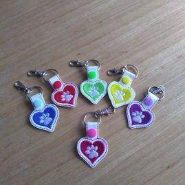 love heart paws keyring