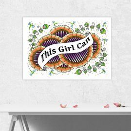 A4 Print Of My Doodle Artwork With inspirational Motivational Quote 2 – This Girl Can