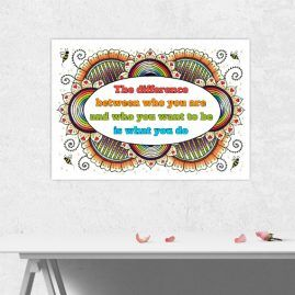 A4 Print Of My Doodle Artwork With inspirational Motivational Quote 4 – Unframed
