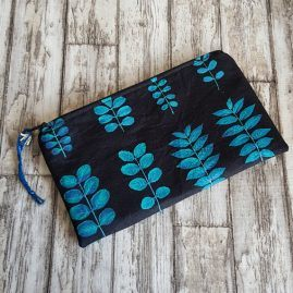 Handmade Blue Leaf Leaves Zipper Pouch Pencil Case Cosmetics Bag 1a