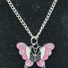 butterfly enamelled pink close